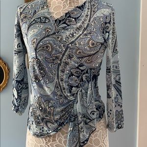 Stunning shades of Blue & Paisley Print. Sequins.